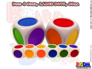 6 sided Colored Dots Large, d6