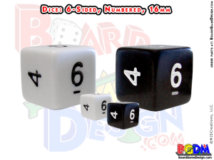 6 sided numbered dice, d6