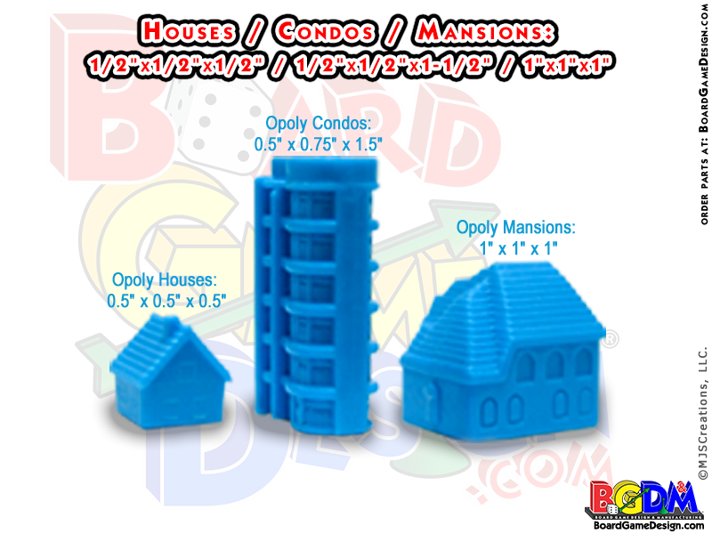 Monopoly Houses, Monopoly Condos, Monopoly Mansions, custom monopoly houses and hotels
