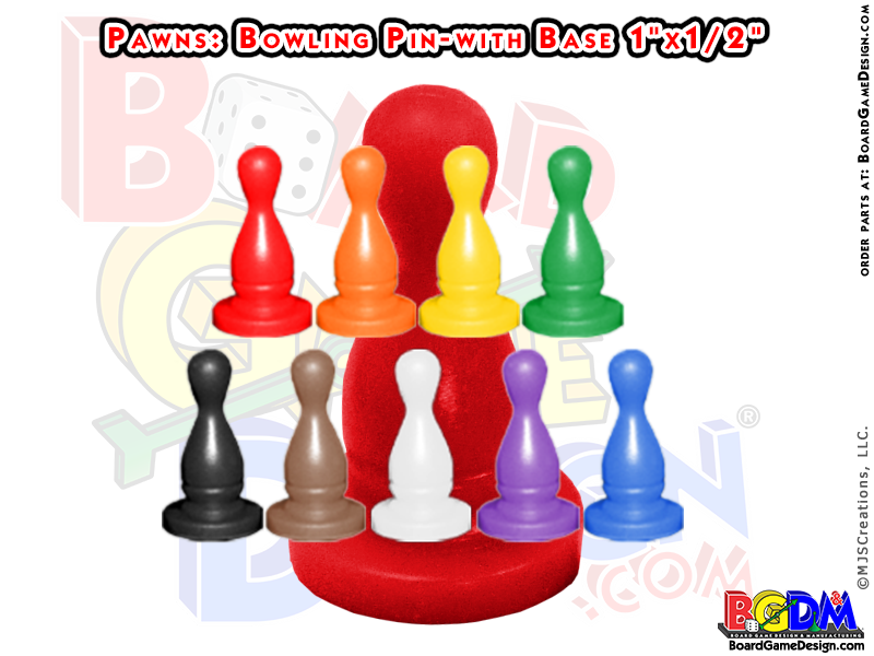 Pawns Bowling Pin with Base Shaped, player pieces, movers