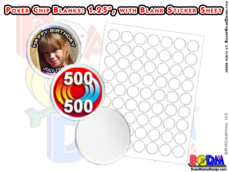 "Blank Poker Chips 1.25"", Custom Poker Chips"