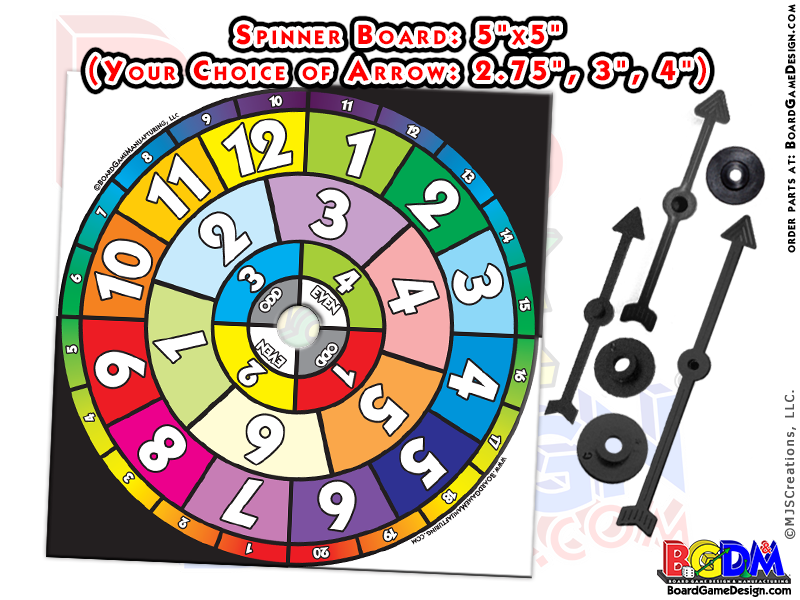 Pre-Printed Spinner Board Game for Sale. Your Choice of Different Arrows!
