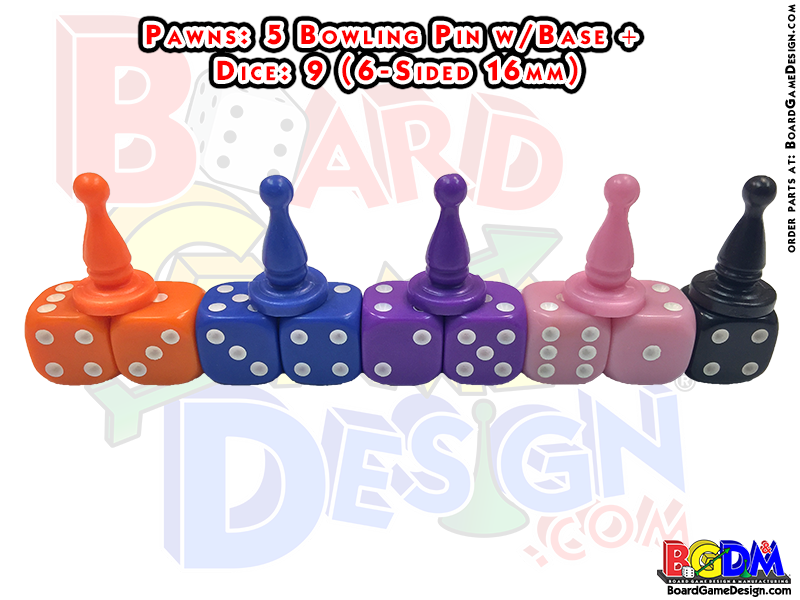 5 pawns + 9 dice (16mm)