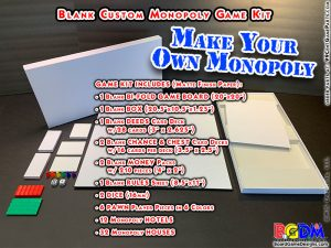Blank Custom Monopoly Game Kit