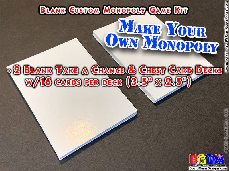 Blank Custom Monopoly Game Kit: Deed Cards