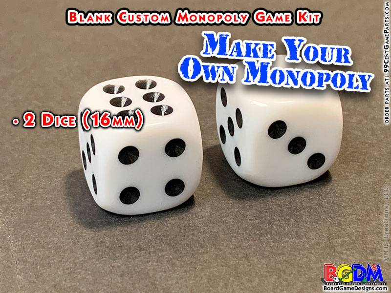 Blank Custom Monopoly Game Kit: Dice