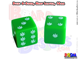 6 sided Hemp Leaves Pot Marijuana dice, d6